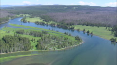 AERIAL United States-Yellowstone River Stock Footage