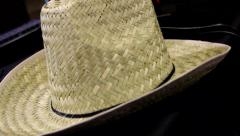 Cowboy Cowgirl Straw Hat Stock Footage