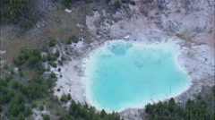 AERIAL United States-A Prismatic Pool In Norris Geyser Basin Stock Footage