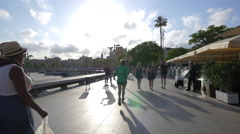 Running and walking on the seafront in Barcelona Stock Footage