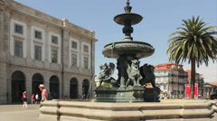 Tourists at Porto University (In the background) Square Fountain Stock Footage
