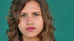 38 Hispanic People Portrait Young Sad Woman Face Expression Stock Footage