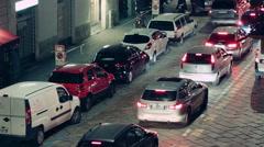 Milano City Cars at Night Stock Footage