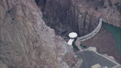 AERIAL United States-High Over Buffalo Bill Reservoir And Dam Stock Footage
