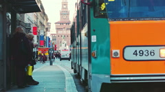 Milano Orange Tram passing by Stock Footage