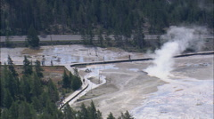 AERIAL United States-Lower Geyser Basin Stock Footage