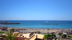 Tenerife - Beach,See,Boat and People have fun Stock Footage