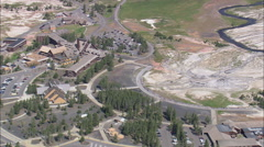 AERIAL United States-Old Faithful Inn And Tourist Centre - stock footage