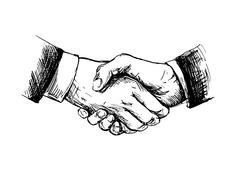 Drawing shake hands Stock Illustration