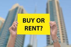 Buy or Rent Appartment Sing in hands - stock photo