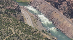 AERIAL United States-Big Horn Canyon South End Stock Footage