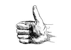 Hand drawing a hand with thumbs-up - stock illustration
