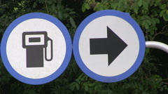 Motorway Fuel Petrol Pump Arrow Sign in UK - stock footage
