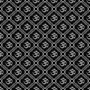 Stock Illustration of Black and White Aum Hindu Symbol Tile Pattern Repeat Background