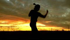 Shadow fight. Boxing at sunset. Stock Footage