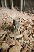 heavy hammer destroy the wall - stock photo