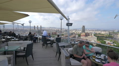 Tourists at Miramar Restaurant in Barcelona Stock Footage