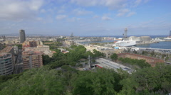 Beautiful view of Barcelona and the port Stock Footage