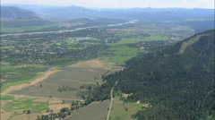 AERIAL United States-Passing The Town Of Moose Wilson Road And Wilson Stock Footage