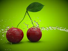 Stock Illustration of Cherries cherry fruit fruits healthy red