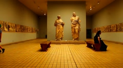 Hall with sculptures of  Mausolus and his wife Artemisia Stock Footage