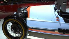 Morgan 3 Wheeler Gulf Edition sports car Stock Footage