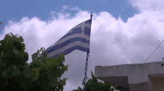 Greek flag at blue sky Stock Footage