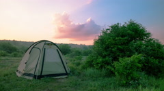 Tourist  camping  tent  in nice summer time. Time lapse . 4K 3840x2160 Stock Footage