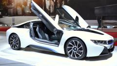 BMW i8 plug-in hybrid sports car Stock Footage