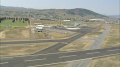 AERIAL United States-Landing At Butte Airport Stock Footage