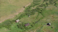 AERIAL United States-Abandoned Ranch Buildings Stock Footage