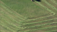 AERIAL United States-Cutting Grass For Hay Stock Footage