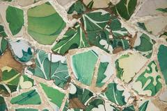 Detail of the ceramics from the Guadi bench in park Guell Barcelona, Spain - stock photo
