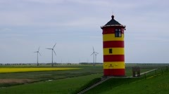 Pilsum Lighthouse in East Friesland Stock Footage