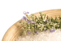 rosemary salt. aroma bath - stock photo