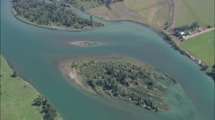 AERIAL United States-Islands In The Flathead River Stock Footage