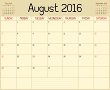 Year 2016 August Month Planner - stock illustration