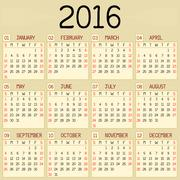 Year 2016 Monthly Calendar - stock illustration