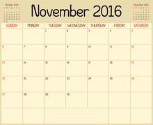 Year 2016 November Month Planner - stock illustration