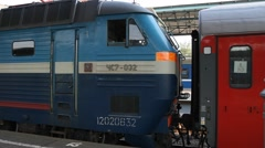 Russia.Moscow - 2013: Coupling train - stock footage