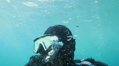 Diver Breathing Under the Water Stock Footage