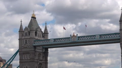 Visitors at the south bank with the Tower Bridge in London,UK. Stock Footage
