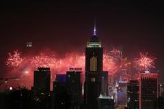 Stubbs Road lookout wan chai firework - stock photo