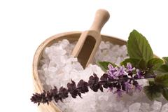 aroma bath. sea salt with herbs - stock photo