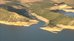 AERIAL United States-Glendo Reservoir In State Park At Sunset Stock Footage