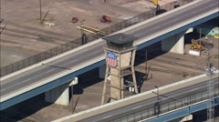 AERIAL United States-Cheyenne Train Station And Freight Yard Stock Footage