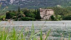 Toblino Castel in northern Italy, near lake Garda - stock footage