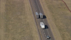 AERIAL United States-Interstate 80 And Trucks - stock footage