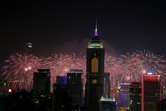 Stubbs Road lookout wan chai firework - stock photo
