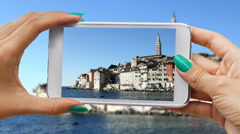 Recording Rovinj with cellphone Stock Footage